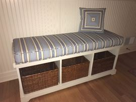 Entryway Storage Bench with baskets, custom upholstered cushion and matching pillow