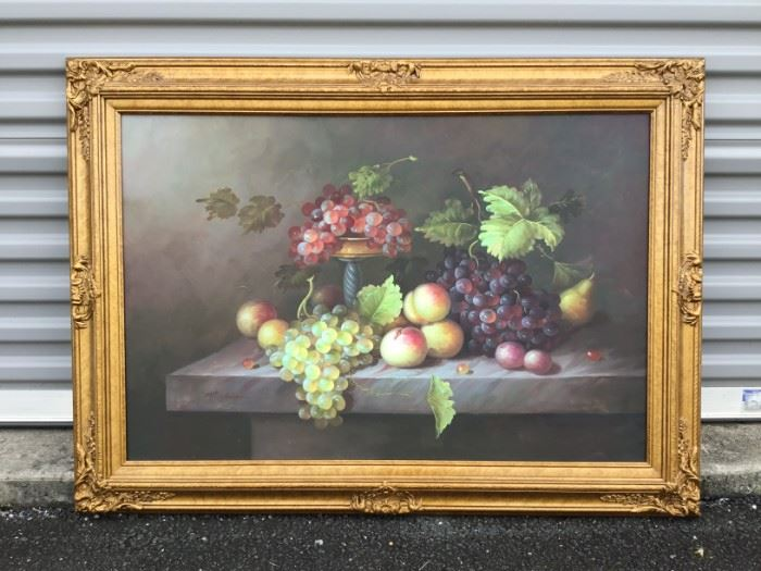 "Framed Artwork ""Still Life Fruit On Table"" https://ctbids.com/#!/description/share/53233"