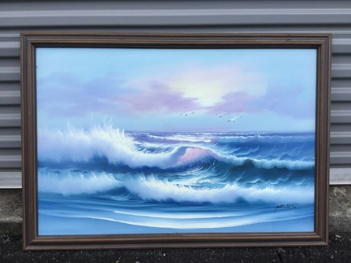 "Framed Artwork ""Ocean Waves and Seagulls Flying""  https://ctbids.com/#!/description/share/53234"