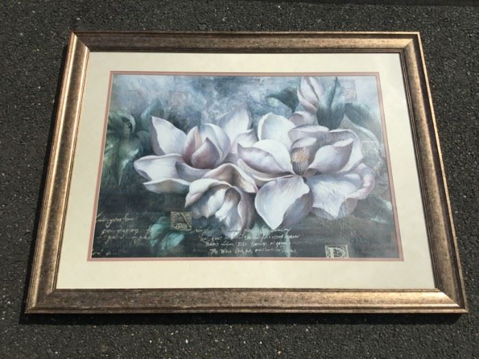"Framed Artwork ""Magnolia Blossoms""             https://ctbids.com/#!/description/share/53238"