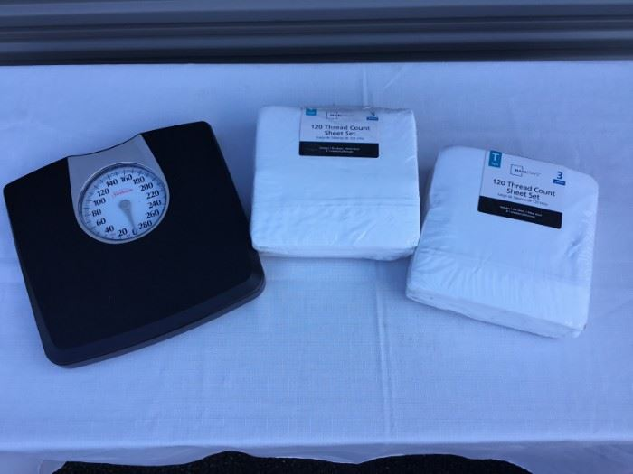 Bathroom Scale and Sheet Sets https://ctbids.com/#!/description/share/53249
