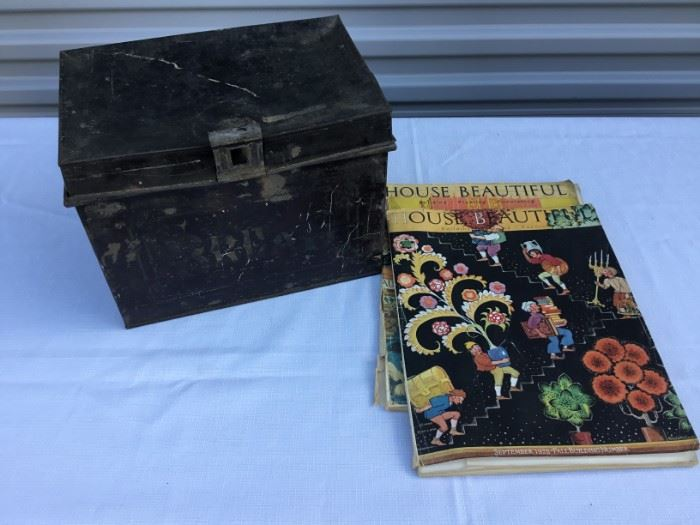 Vintage Metal Bread Box and Magazines https://ctbids.com/#!/description/share/53248