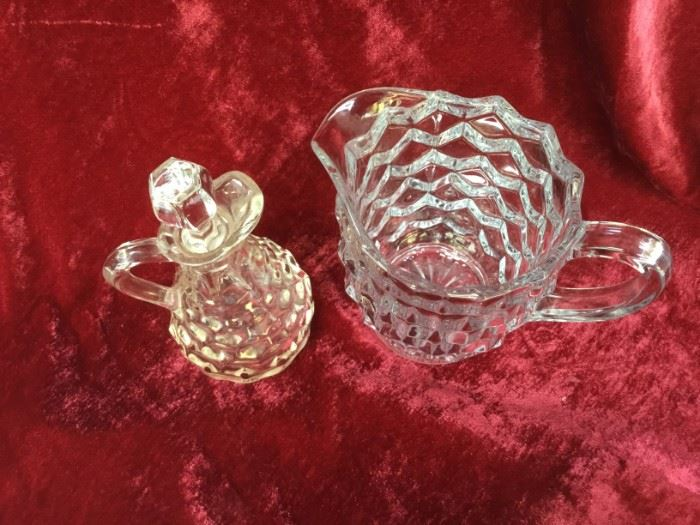Fostoria Crystal Pint Pitcher and Vinegar Cruet               https://ctbids.com/#!/description/share/53027