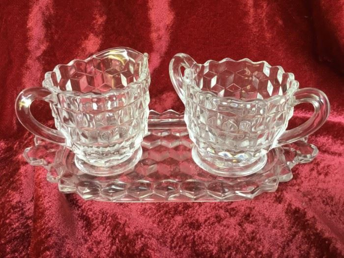 Fostoria Crystal Mini Cream and Sugar with Tray https://ctbids.com/#!/description/share/53030