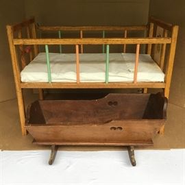 Wooden Doll Bed and Doll Cradle https://ctbids.com/#!/description/share/53046