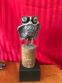 Curtis Jere solid metal owl Sculpture tagged and signed with Marshall Field Sticker on bottom Buy it NOW $500
