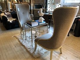 Pair of Uttermost brand  TALL wingback / sitting chairs