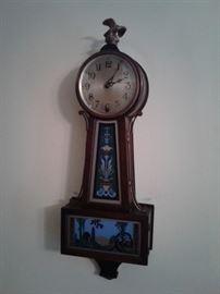 Reverse painted banjo clock