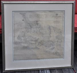 1876 Nautical Chart - Beaufort Harbor, NC - $1200  size / dimensions: 34 x 34  Original Nautical Chart  Scale: 1:40,000  Date: 1876  Maker: United States Coast Survey  Original, black and white antique nautical/coastal chart of Beaufort Harbor, including Town of Beaufort, Morehead City, Newport River, North River and Bogue Sound.  Good antique condition, unrestored, original backing.  Chart has been conservation mounted, and, although matted, it was free floated against acid-free backboard and no glue or adhesives were used in mounting. Frame and mats are all in excellent condition. If taken out of frame, it could be restored, but why? Beautiful as is.  Print on chart is crisp and clear. to its age and as this chart was actually used, it displays darkening, surface soiling and staining spots (see photos) and an unrepaired tear runs N-S through the chart . Exposed image of chart is approximately 24 x 24 inches and frame dimensions are 34 x 34.  Details include water depths, types of bo