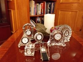 collection of table top other miniature and Waterford clocks
