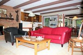 Bauhaus Burgundy Leather Sofa, Leather Club Chair