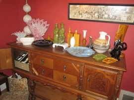 More Haeger, including the lamp,                                          Mediterranean buffet/ side board