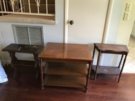 #3end table with 2 shelves 28x22x22 $100.00  #41/2 end table  w shelf 24x12x11 $45.00  #5end table  with bookcase bottom 22x11x22 $45.00