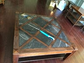 #2stone and wood square  coffee table 42x18 $150.00