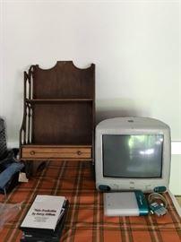 #11Imac aqua color computer  $100.00  #12wood wall hang shelf with drawer 15x30 $75.00