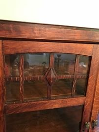 #13china cabinet w glass doors and sides 37x14x57 $250.00