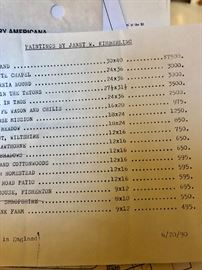 Art prices for kimberling in 1990