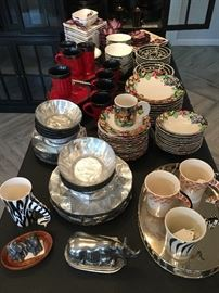 Various Dishes, including Z Gallerie Origami and Labyrinth Patterns