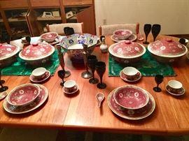 Chinese Vintage dinner set enamel paint