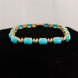 14k gold Sleeping Beauty turquoise tennis bracelet
