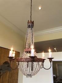 """Chandelier - 6 arm with crystal beads, iron and """"candle"""" accents with beautiful flame bulb - can be removed at the end of the estate sale"""