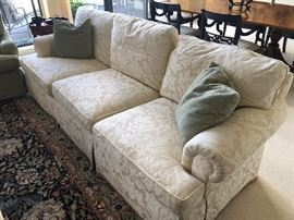 BAKER : 3 cushion couch with rolled arms and skirted - excellent condition - matched set of 2 couches