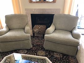Arm chairs - matched set of 2 - designer fabric and leopard footstool