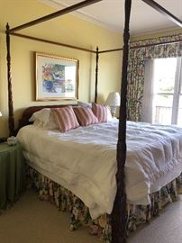 4 poster-canopy mahogany bed - queen, mattress set and all linens also available
