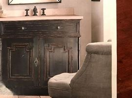 Restoration Hardware Black antiqued finish vanity cabinet with cream marble top and sink.  New - still in original shrink wrap :)