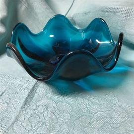 1960's Cerulean Blue Art Glass  18
