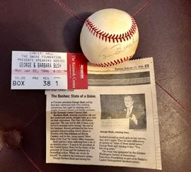 Autographed by George Buch with ticket and news article signed baseball