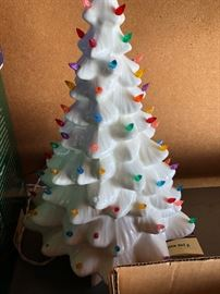 Vtg Ceramic White Christmas Tree with lights Plug In Holiday Seasonal Decoration