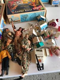 GI JOES and Ken dolls, Captain James Kirk, Vintage Christmas Houses, Made in Japan