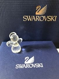 Swarovski child angel figurine wings and halo