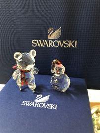 Swarovski Figurine Kris Bear on Skates, Swarovski figurine snowman with carrot nose