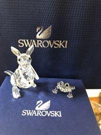 Swarovski Crystal Kangaroo/crystal Joey, Swarovski Mini frog green eyes