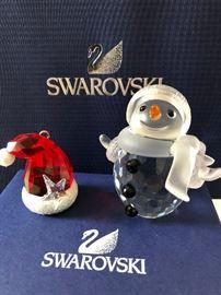 "Swarovski miniature crystal snowman, ""snowballs"", Black eyes, black buttons, Swarovski Christmas ornament Santa Hat pendant Red With Star"