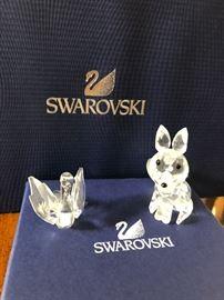 Swarovski crystal figurine fox facing forward with black eyes, Swarovski crystal figurine swan