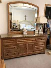 9 Drawer dresser with mirror, Pair of Geometric metal mirrors