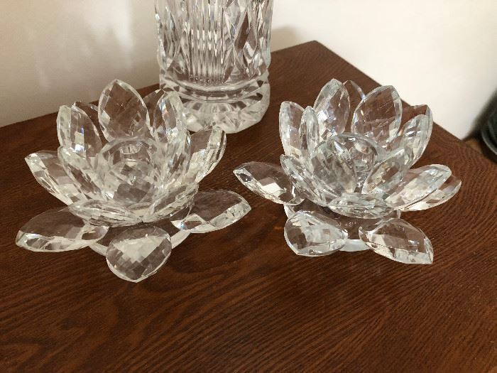 2 Gorgeous Shannon Crystal Lotus Flower Candle Holders by Godinger