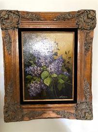 Original Oil Lilacs in Antique frame