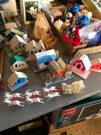 Vintage Christmas paper/cardboard Houses made in Japan