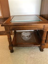 2 small square Wood Glass Side tables, very low