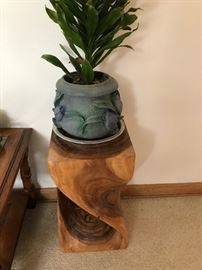 Mid Century Wood Plant stand side table