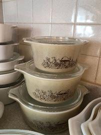 Vintage SET Pyrex Forest Fancies 6pc Casserole Set Mushrooms with 3 lids 3 bowls