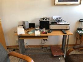 Desk, speakers, Printer, modems