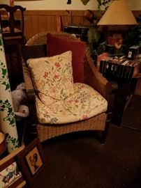 One of several wicker chairs