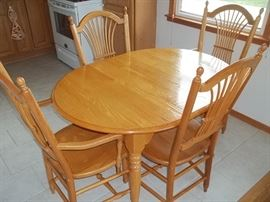 custom made oak dining table and chairs and leaf