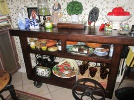 Cool serving cart (some but not all of the items on the cart will be in the sale)