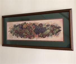 Framed grape vine print